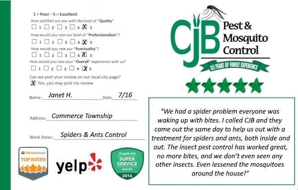 "alt=""customer review card from a commerce michigan homeowner for a ant"