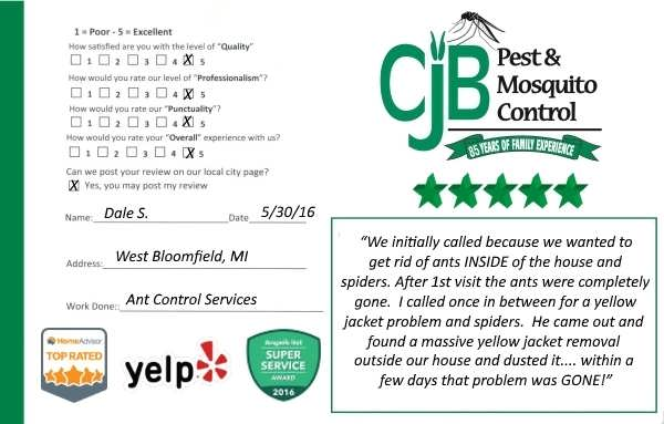 "alt="" review card for Ant Control Service from a West Bloomfield, MI. customer."""