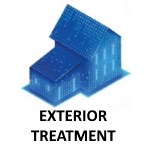 "alt="" a blue house on white background with exterior treatment printed below for pest control"""